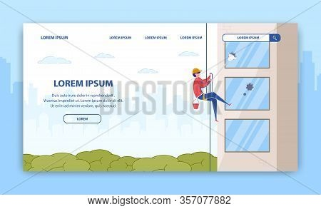 Window Cleaning Service. Industrial Climbing Banner. Man Cleaner In Uniform Hanging On Rope Outside