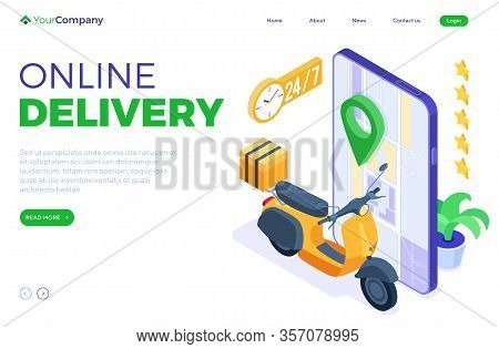 Fast And Free Online Food Order And Package Delivery Service. Fast Food Shipping. Isometric Scooter.