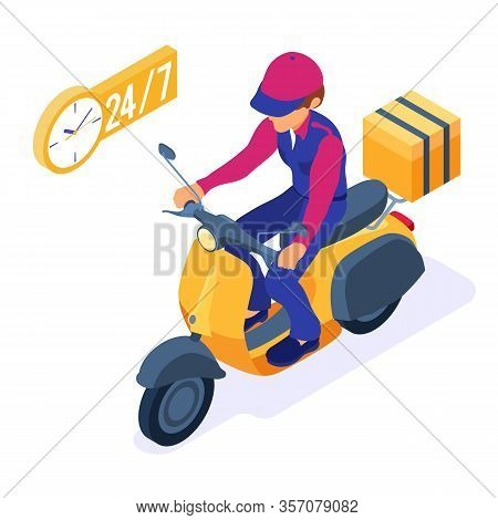 Fast Online Food Order And Package Delivery Service. Fast Food Shipping Isometric Courier With Packa