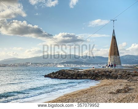 Seagull Monument With Blue Shinning Peak. Well Known Meeting Place At Seaside Promenade. Palma City,