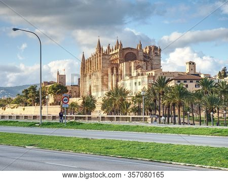 La Seu, The Gothic Medieval Cathedral Of Palma De Mallorca, Spain. 26th Of January 2020