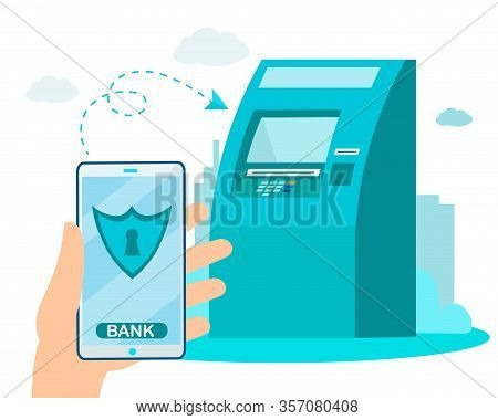 Safety Wireless Money Transferring Via Mobile E-banking And Atm Services. Contactless Financial Tran