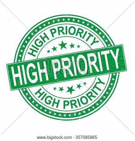 Green High Priority Ink Vector Stamp Illustration Isolated On White Background. High Priority Web Ic
