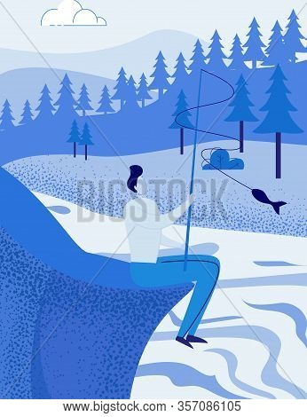 Man Fishing At Lake Or River. Fisherman, Angler On Forest Nature Backdrop.outdoor Water Activity, Le