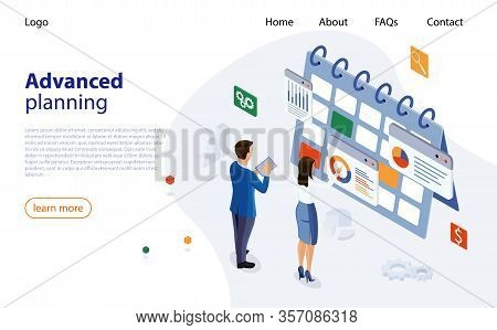 Planning Schedule Concept Banner With Business People. Web Page Design Templates For Advanced Planni