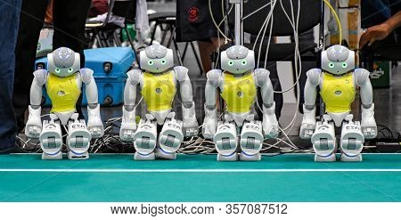 Leipzig, Germany - July 2, 2016: Four Humanoid Robots Of Type Nao Of The French Robot Manufacturer A