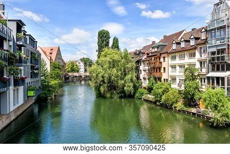 River Pegnitz In The Franconian City Nuremberg (bavaria, Germany)