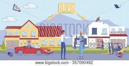 Cartoon Man Buy New House, Woman Neighbor Build. Builder Work On Building. Advantage And Disadvantag