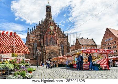 Nuremberg, Germany - June 23, 2018: Market Stalls On The Market Square Of The Franconian City Of Nur