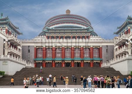 Chongqing, China - May 9, 2010: Downtown. Large Multi-layer Dome Tops Great Hall Of The People Behin