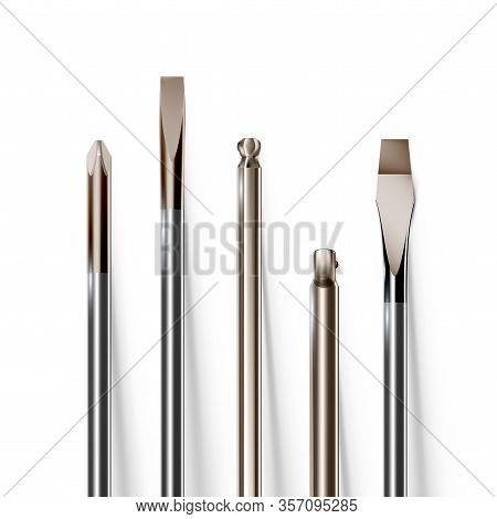 Variety Of Tip Screwdrivers Set, Objects Close-up. Vector Illustration Eps 10.
