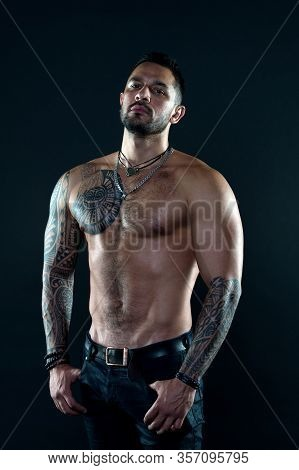 Sport And Fitness. Masculinity. Muscular Torso. Tempting Glance. Bearded Man With Tattooed Torso. Ma