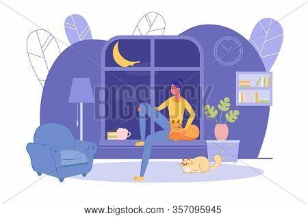 Girl Alone At Home Sit On Window Sill In Evening. Relax In Home Comfort With Favorite Pets. At Night