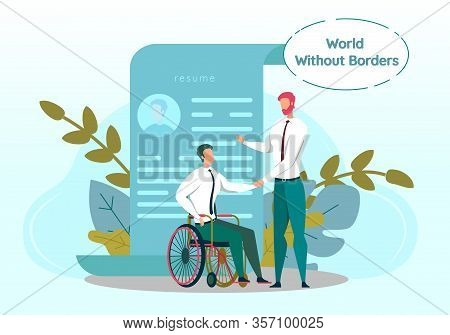 World Without Boarders Banner. Job Interview With Man With Disability. Employer Shaking Hand With Wh
