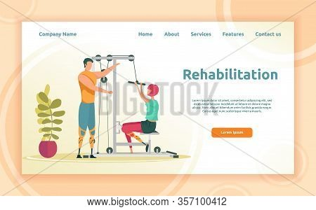 From Physical Therapy To Personal Fitness. Local Gym Trainer With Two Artificial Leg Working With Yo