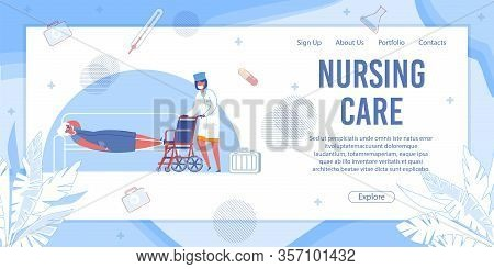 Nursing Care Banner. Nurse Bring Wheelchair To Senior Woman Laying On Couch. Patient Help In Clinic,