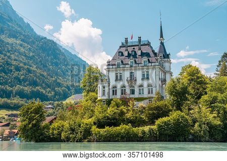 Schloss Seeburg. Seeburg Castle Was Built On Peninsula Surrounded By The Teal Coloredwaters Of Lake