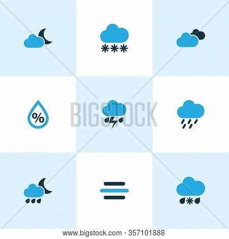 Climate Icons Colored Set With Night, Overcast, Rainstorm And Other Moonshine Elements. Isolated Vec