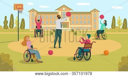 Playing Basketball With Wheelchaired Student In Schoolyard, On Sports Ground In Front School Buildin