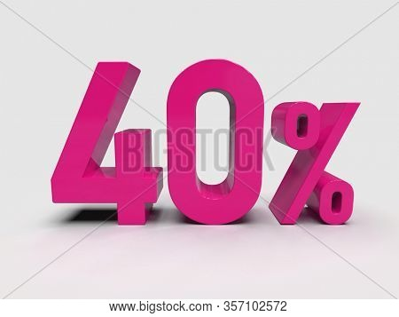 3d Render: Pink 40% Percent Discount 3d Sign on Light Background, Special Offer 40% Discount Tag, Sale Up to 40 Percent Off, Forty Percent Letters Sale Symbol, Special Offer Label, Sticker, Tag