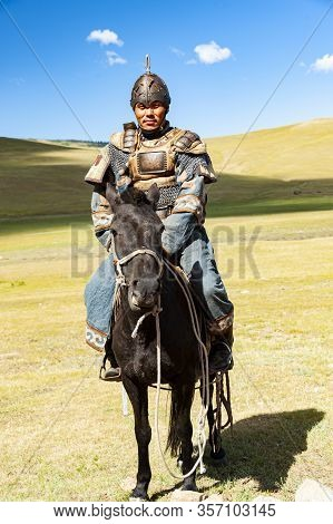 Ulan Bator, Mongolia - August 25, 2016: A Horseman Is Greeting Visitors At The Entrance To The Mongo