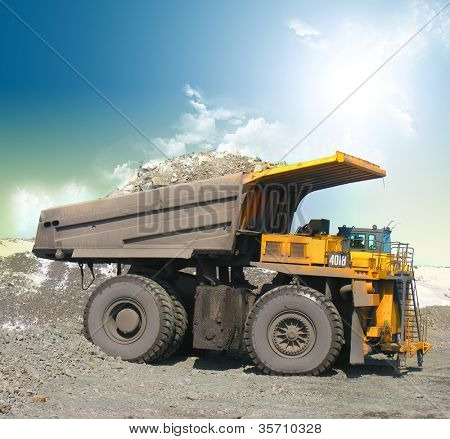 Yellow mining trucks