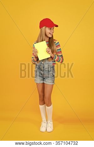 Child Happy Girl Hold Book Enjoy Studying. Knowledge Source. Take Book From Library. Informal Educat