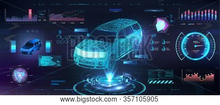 Polygonal Auto Hologram With Hud Ui Interface. Futuristic Car Service With Scanning Auto And Data An