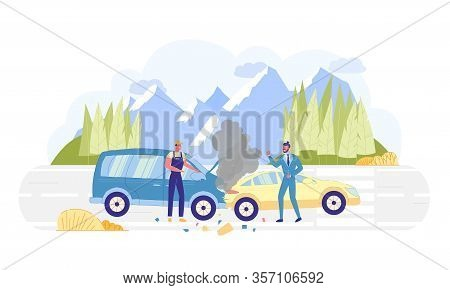Car Accident On Road With Nature Background Flat Cartoon Vector Illustration. One Driver Swearing, R