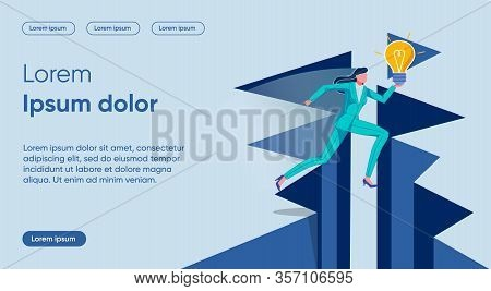 Idea Carrying Flat Landing Page Vector Template. Hurry, Business Race, Project Presentation, Being F
