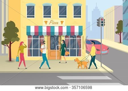 Blind Man In Glasses Is Walking Around City With Stick And Dog Guide Flat Cartoon Vector Illustratio