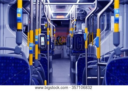 Interior Of Empty Bus Without Passengers. Public Transport Transfer. Modern Public Transport Is Conv