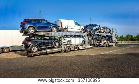 Car Carrier On The Highway. Freight Transport, Logistics Cargo Delivery