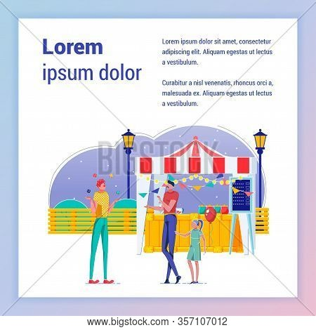 Bazzar, Fair Food Stand Vector Banner Template. People In Recreational Park Square Poster Layout Wit