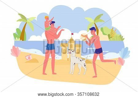 Father With Sons And Dog Playing Ocean, Cartoon. Family Male Half Got Rest In Free Time. Youngest So