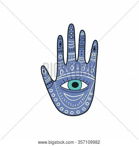 Palm-shaped Popular Amulet Illustration In Blue Color. Evil Eyes Icon, Talismans In Hand Drawn Style