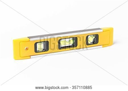 Horizontal View Of A Yellow Spirit Level Isolated On White Background