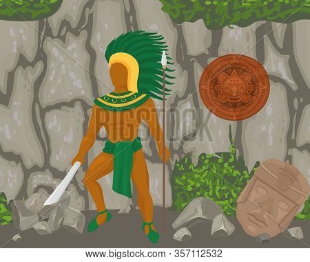 Aztec Ancient Warrior With Knife, Spear, Feather Headdress Vector Illustration. Aboriginal Mexican N