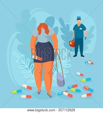 Depressed Woman With Huge Pill In Hand Among Drugs After Visiting Doctor Vector Illustration. Improp