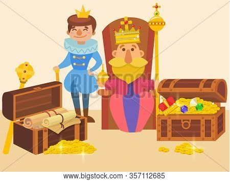 King Sitting On Throne And His Son In Crowns, With Wealth Riches Vector Illustration. Father King Ho
