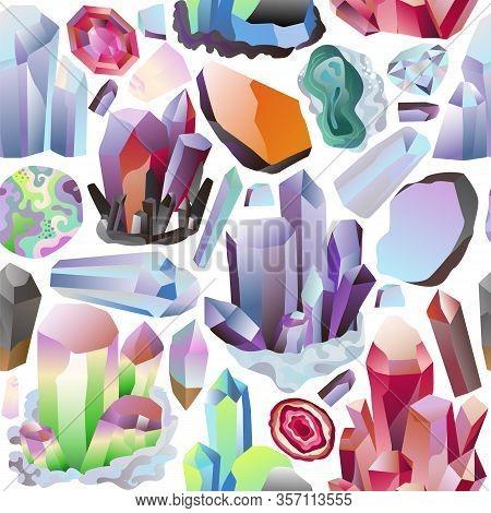 Minerals Crystals And Gems Diamonds Vector Illustration Set. Background Backdrop Seamless Design Gra