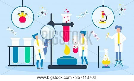 Science Laboratory Vector Illustration. People Scientists At Chemical Researching Experiment For Med