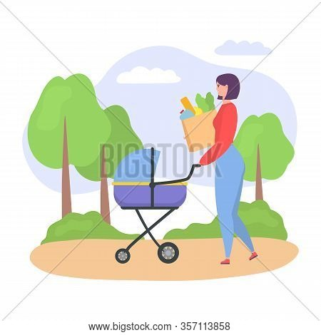 Casual Woman, Mother Walking With Her Baby In Stroller, Woman Pushing Pram With Newborn Child And Ba