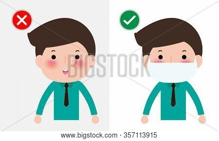 Coronavirus 2019-ncov Or Covid-19 Disease Prevention Concept, Man With Wearing Face Mask And Without