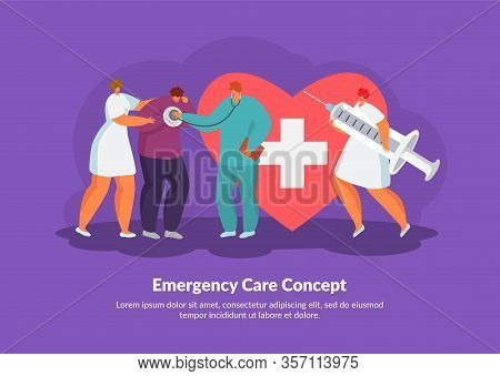 Emergency Care Heart Attack Treatment By Doctors, Medical Rescue Vector Illustration. People Doing C
