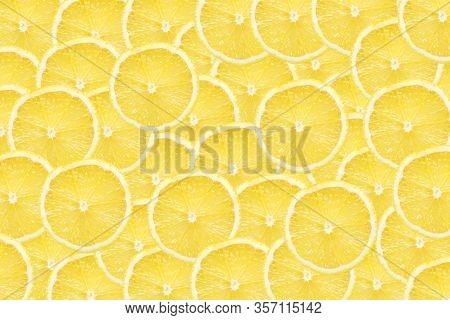Lemon Slices Background. Yellow Fruit Cut Texture. Citrus Section Pattern. Vibrant Color Summer Desi
