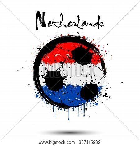 Abstract Soccer Ball Painted In The Colors Of The Netherlands Flag. Flag Of Netherlands In The Form