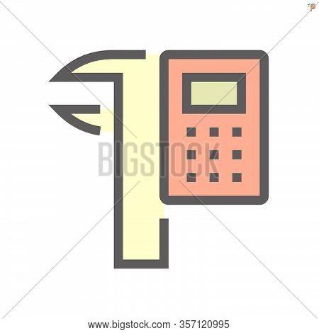 Calculator And Vernier Caliper Vector Icon Design For Engineering Design Concept.,  48x48 Pixel Perf
