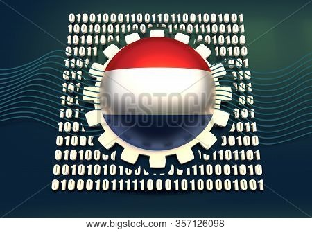 Binary Code Background With Gear And Flag Of The Netherlands. Algorithm Binary, Data Code, Decryptio