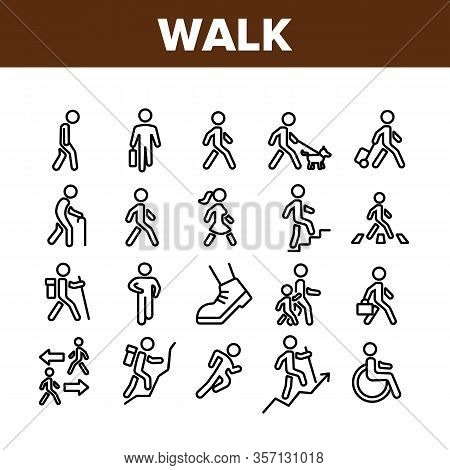 Walk People Motion Collection Icons Set Vector. Human Walk With Dog And Luggage, With Case And Backp